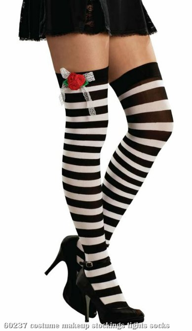 Black & White Thigh Highs W/Red Roses Adult