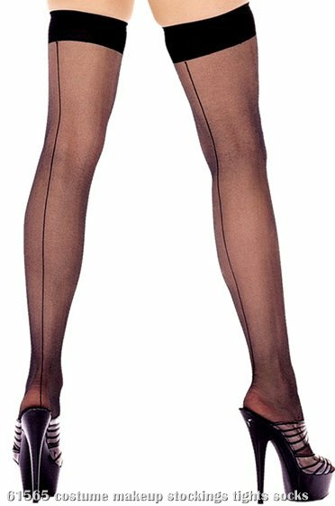 Sheer Thigh Hi With Backseam (Black) - Adult Plus