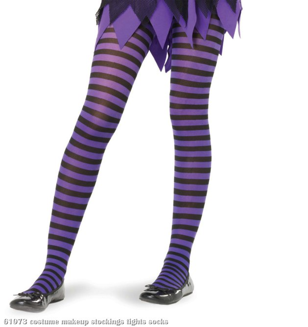 Black/Purple Striped Tights Child