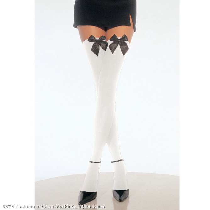 White Thigh High Stockings with Bow