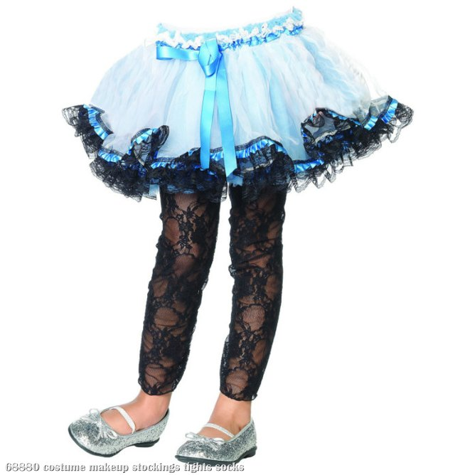 Lace Footless Tights (Black) Child