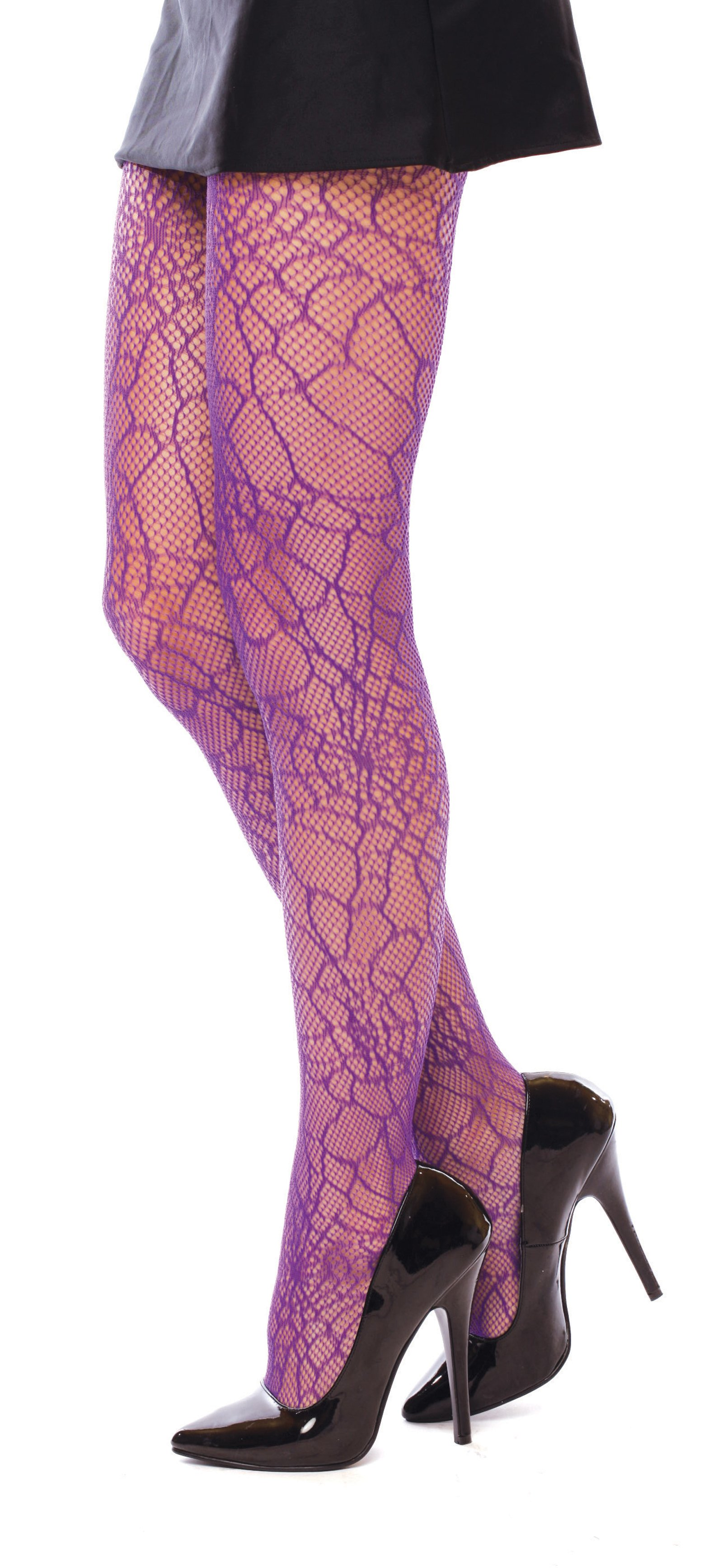 Spiderweb Print Purple Tights Adult