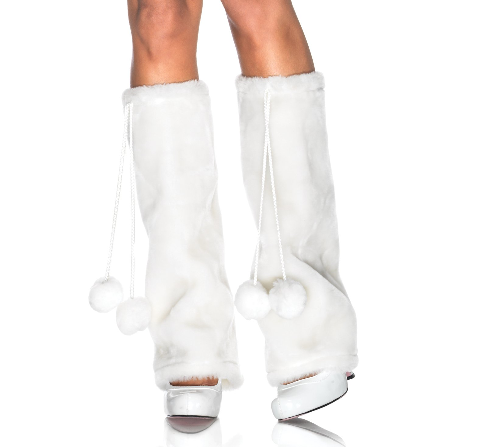 Furry White Adult Leg Warmers