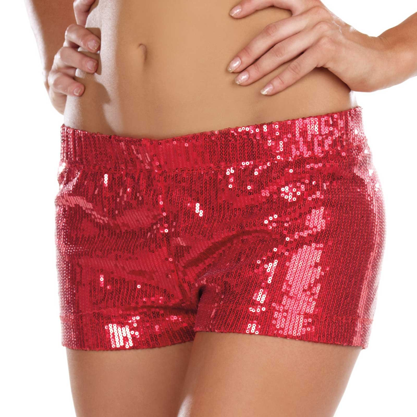 Glam Sequin Red Adult Shorts