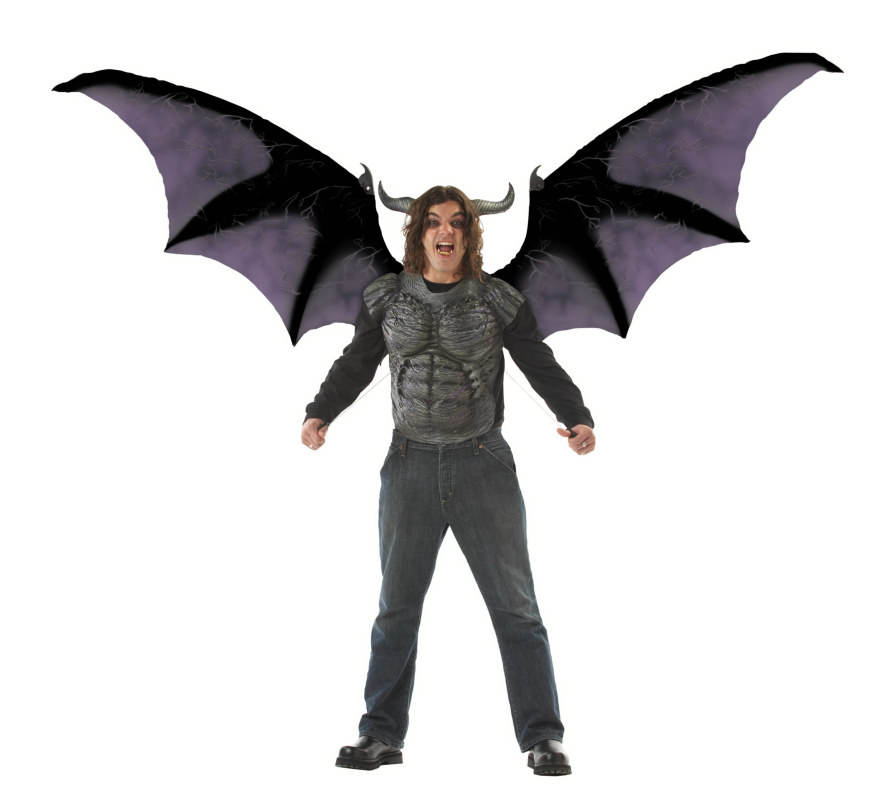 Deluxe Beast Wings and Chest Piece Adult Costume Kit - Grey