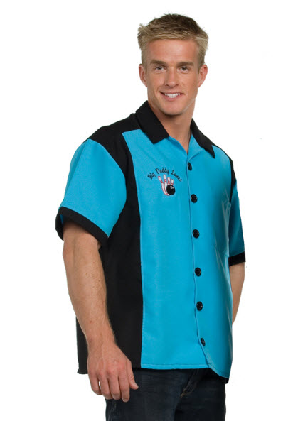 Bowling Shirt Turquoise Adult Costume