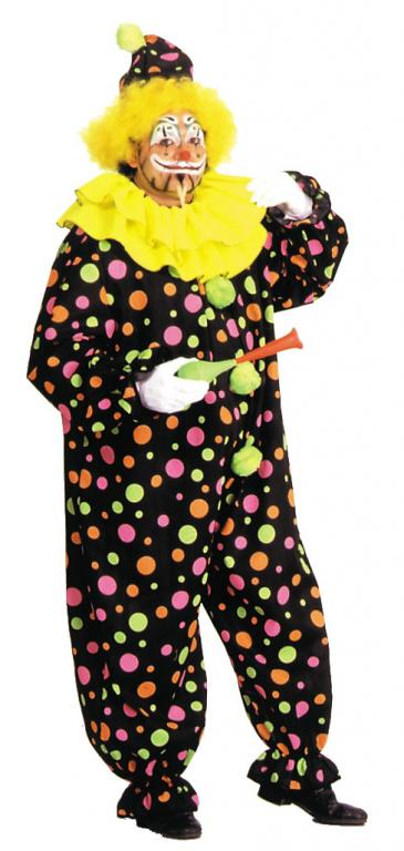 Neon Dotted Clown Full Size Adult Costume