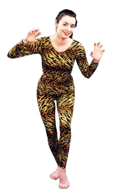 Unitard: Tiger Cat Print Adult Costume