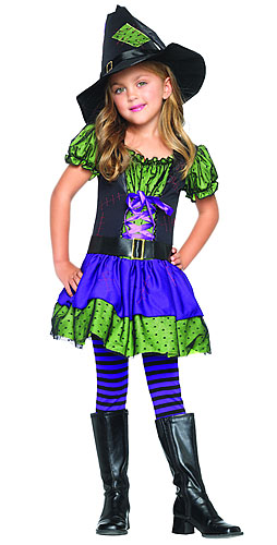 Small Child Colorful Witch Costume