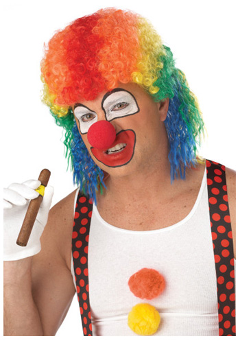 Rainbow Clown Mullet Wig
