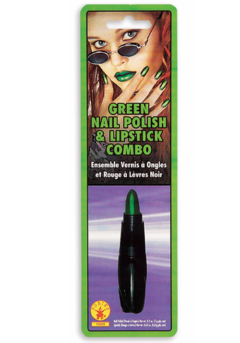 Green Lipstick and Nailpolish