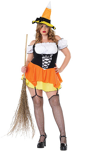 Plus Size Candy Corn Witch Costume