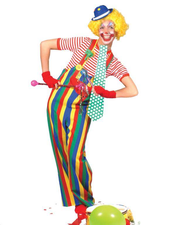 Striped Clown Adult Overalls