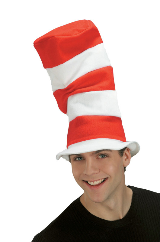 Cat in the Hat Dr Seuss Striped Fancy Dress Halloween Adult Costume Accessory