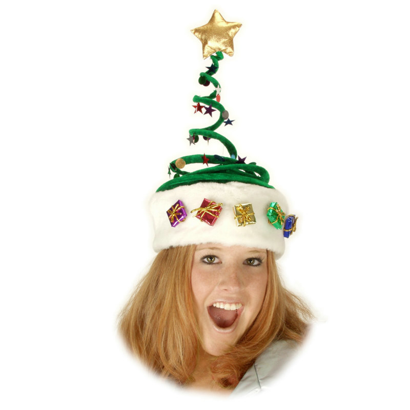Deluxe Springy Christmas Tree Hat