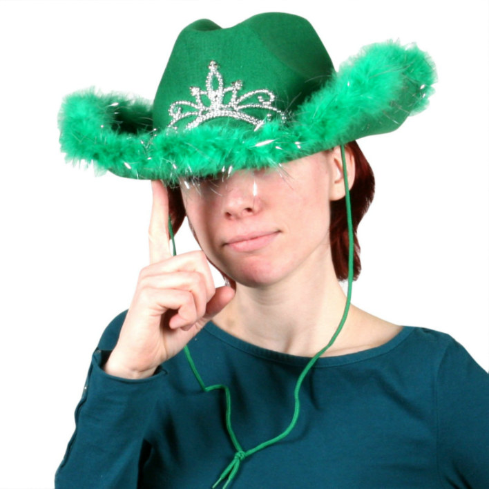 Green Light Up Cowgirl Hat with Marabou Trim