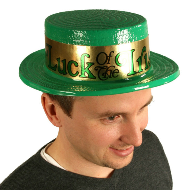 Plastic Irish Skimmer Hat with Foil Band