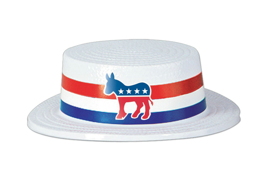 Skimmer Hat with Democratic Donkey Band