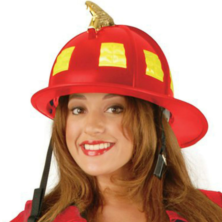 Red Fire Helmet Adult