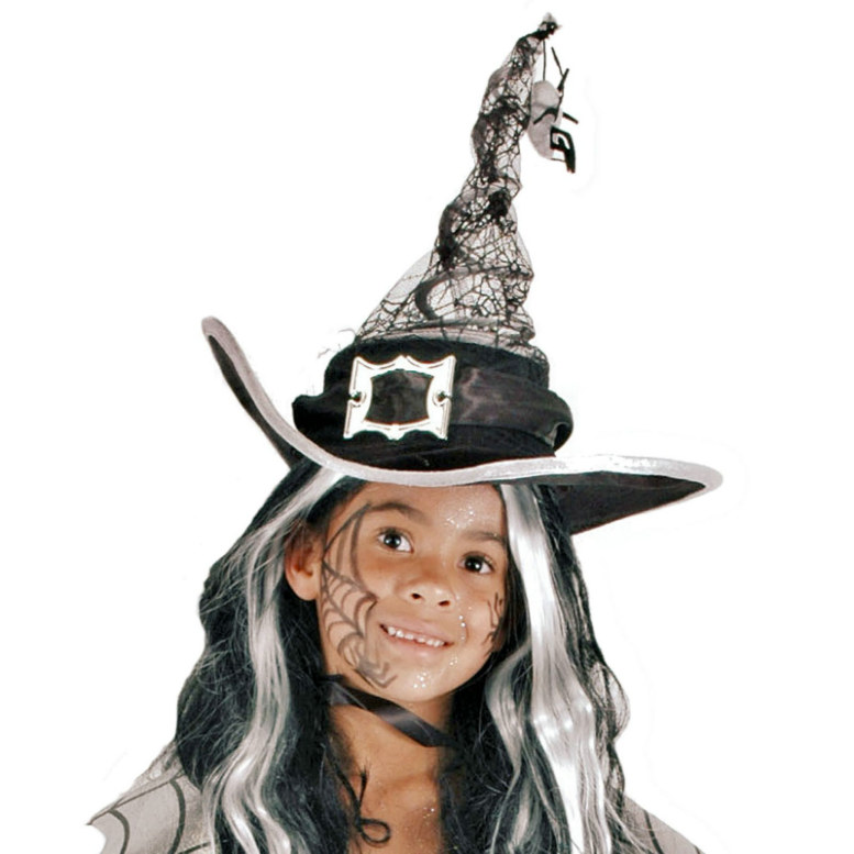 Grey Springy Witch Hat Child - Click Image to Close