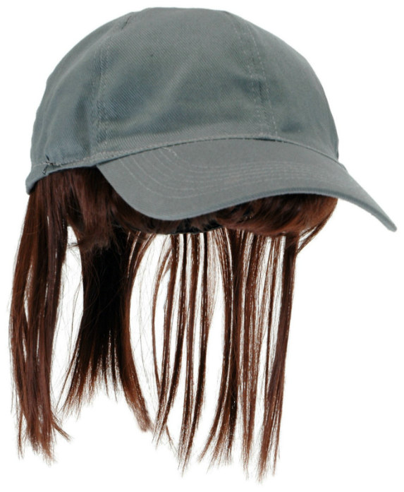 Adult Gray Baseball Cap with Brown Bangs