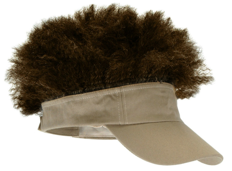Adult Tan Visor with Brown Afro