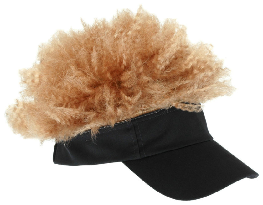 Adult Gray Visor with Blonde Afro