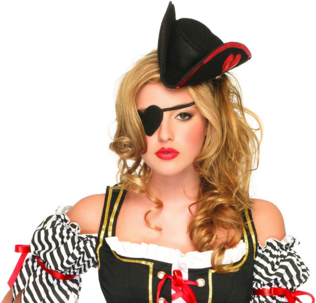 Sequin Trimmed Pirate Hat and Heart Eyepatch Adult