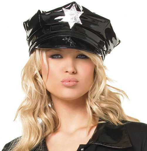Vinyl Cop Hat with Badge Adult