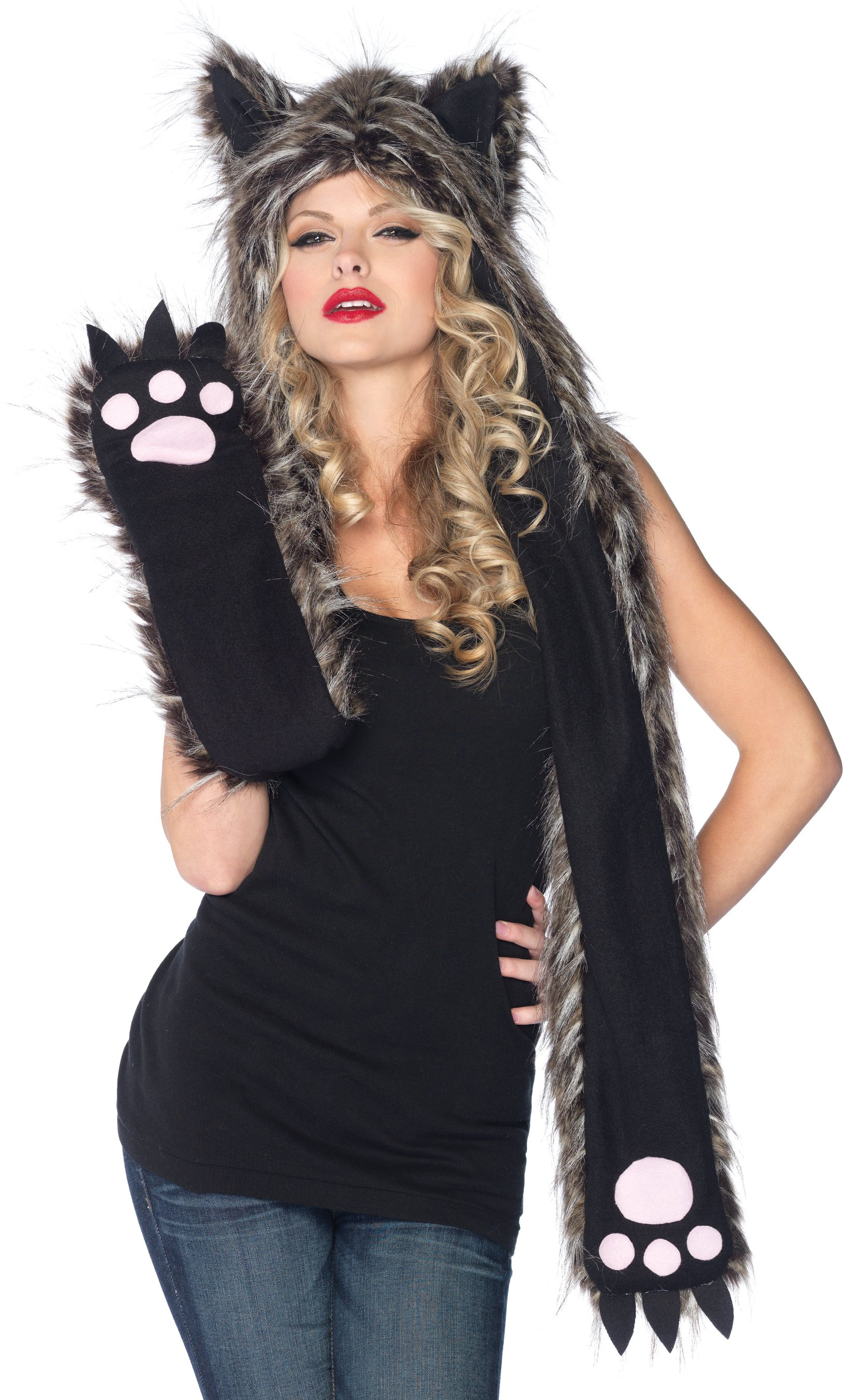 Plush Fox Hood & Paw Scarf (Adult)