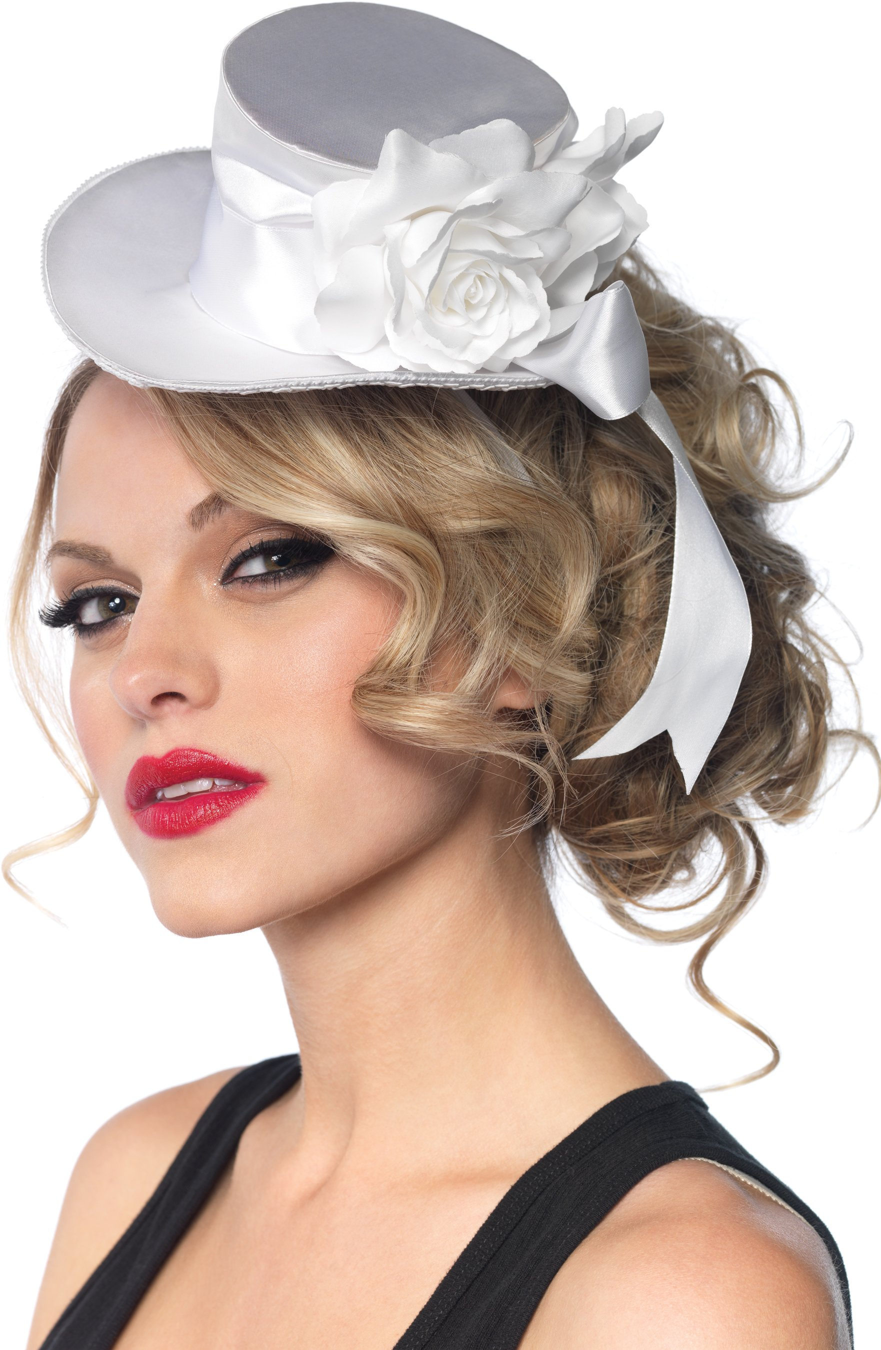 White Satin Top Hat (Adult)