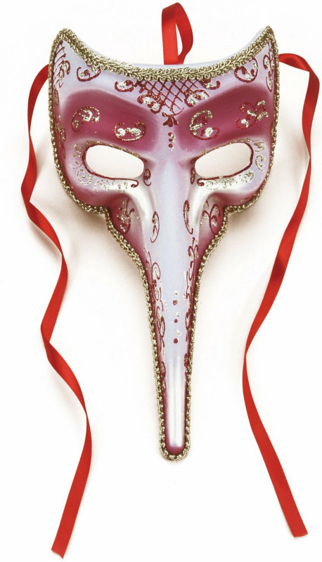 Long-Nosed Rose Venetian Adult Mask