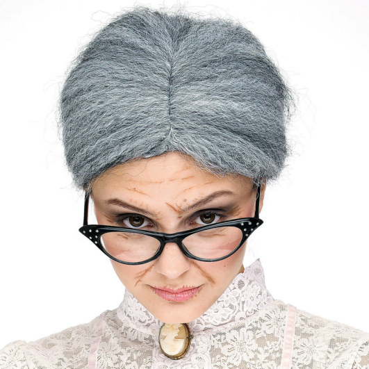 Granny (Gray) Bun Wig Adult