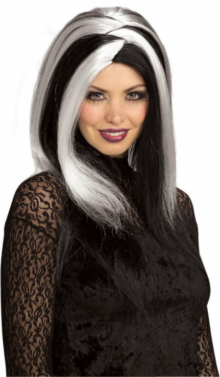 Sinister Stripes White/Black Adult Wig