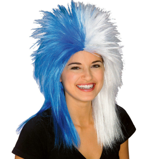 Blue and White Sports Fanatic Wig