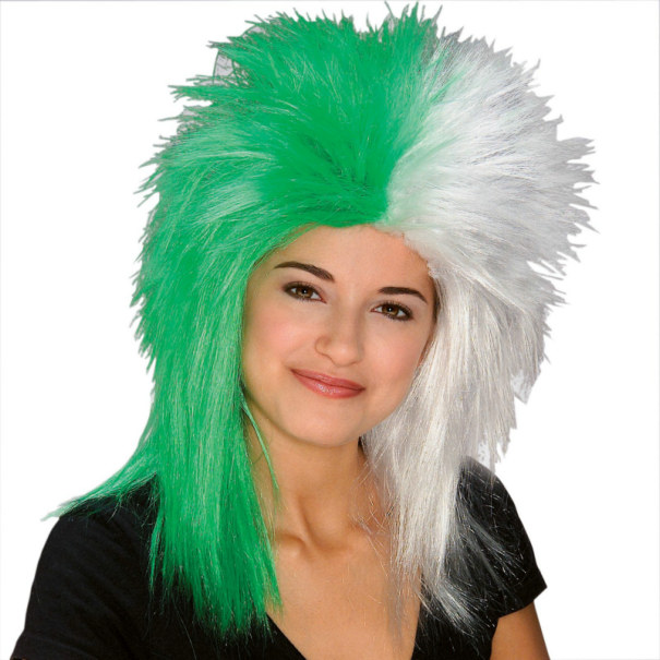 Green and White Sports Fanatic Wig