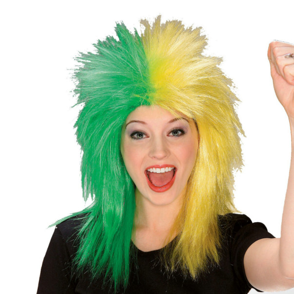 Green and Yellow Sports Fanatic Wig