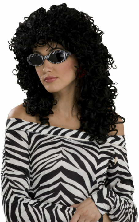 80's Wild Curl Black Adult Wig