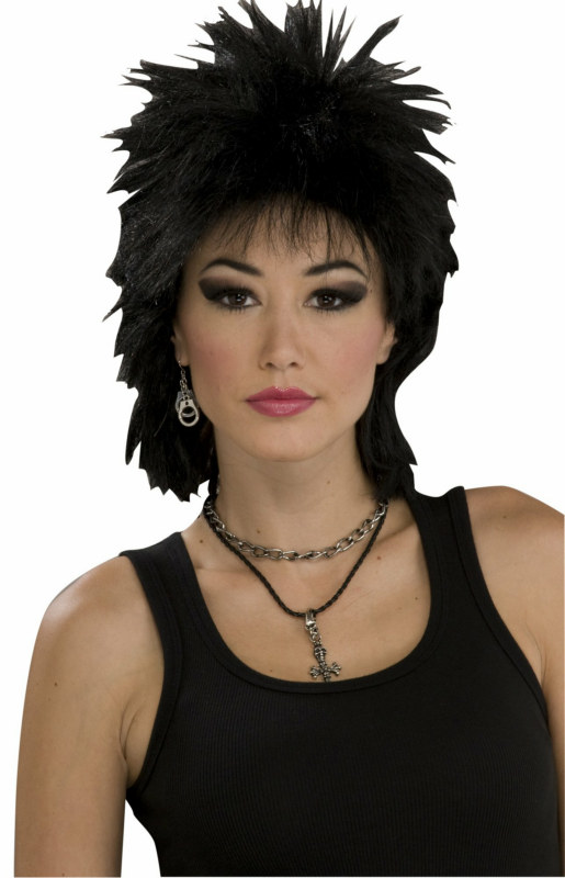 80's Rock Idol Black Adult Wig