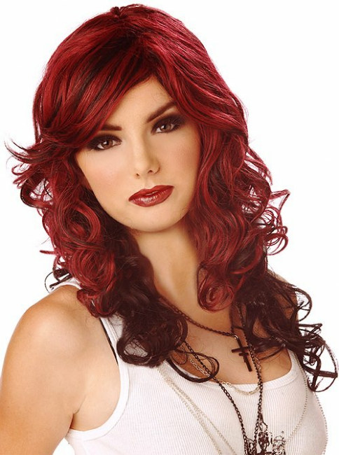 Rock Vixen (Burgundy/Black) Adult Wig