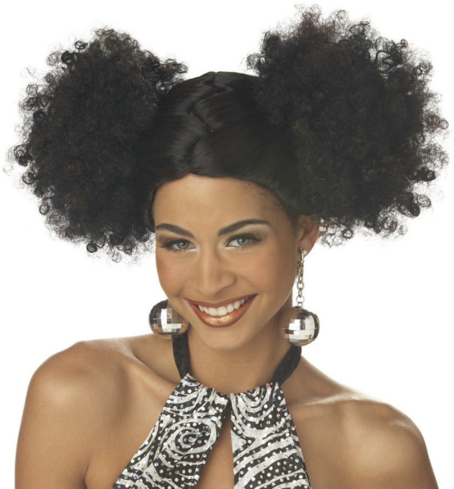 Discopuffs (Black/Brown) Adult Wig