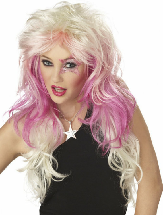 Truly Outrageous (White/Pink/Purple) Adult Wig