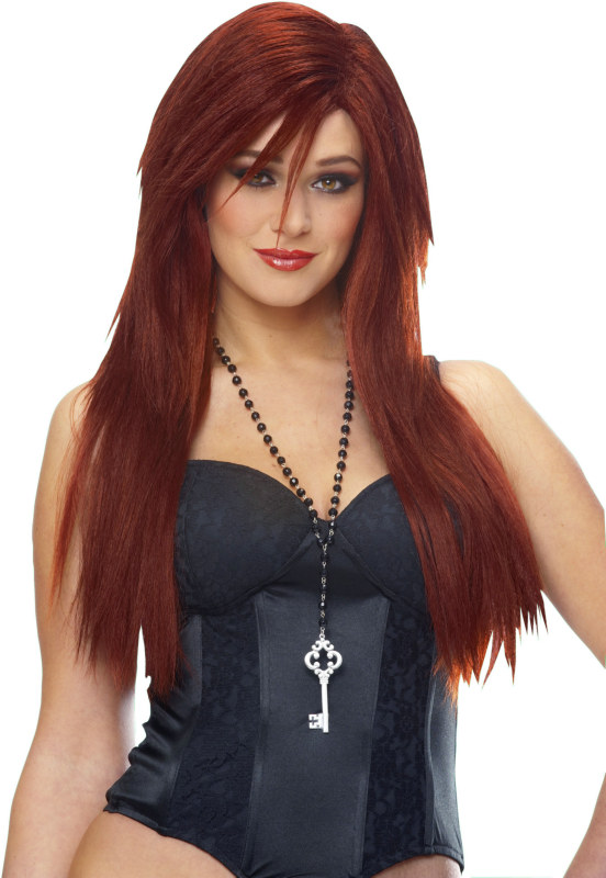 Sleek Red Deluxe Wig Adult