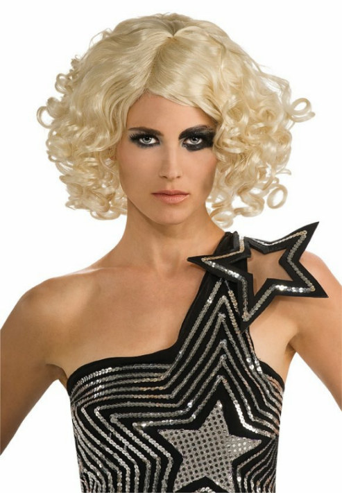 Lady Gaga Curly Blonde Adult Wig