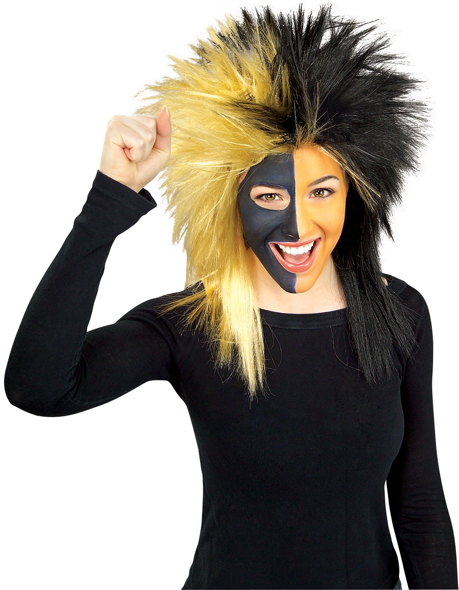 Sports Fanatic Wig - Black & Gold
