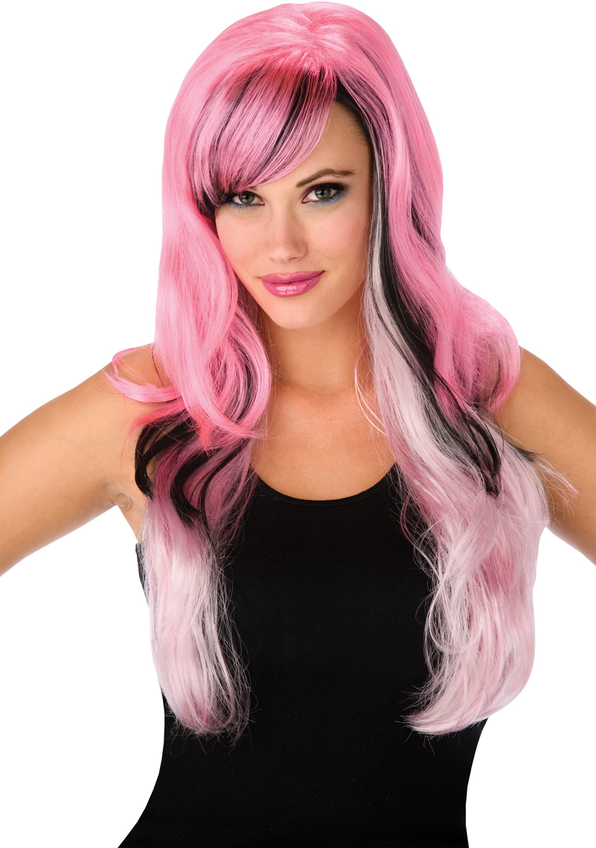 Gothic Pink and Black Adult Wig