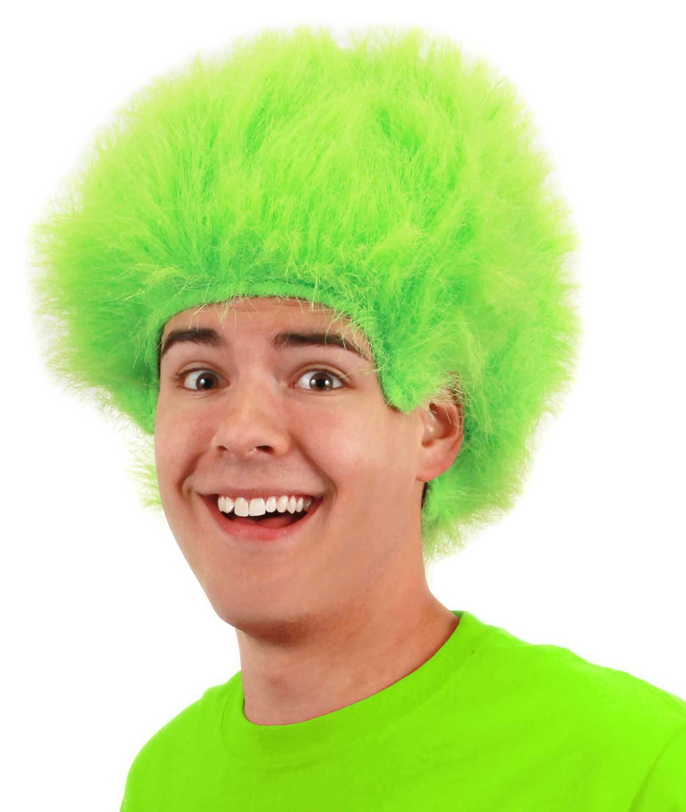 Fuzzy Lime Green Adult Wig
