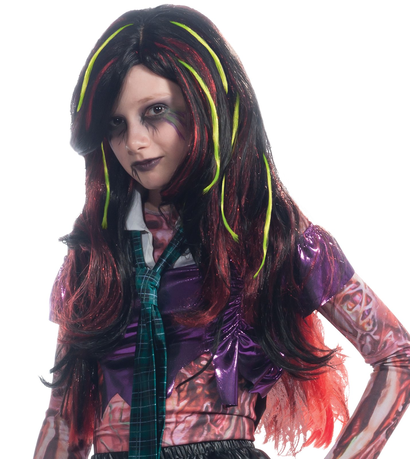 Long Black with Red and Green Streaks Child Wig