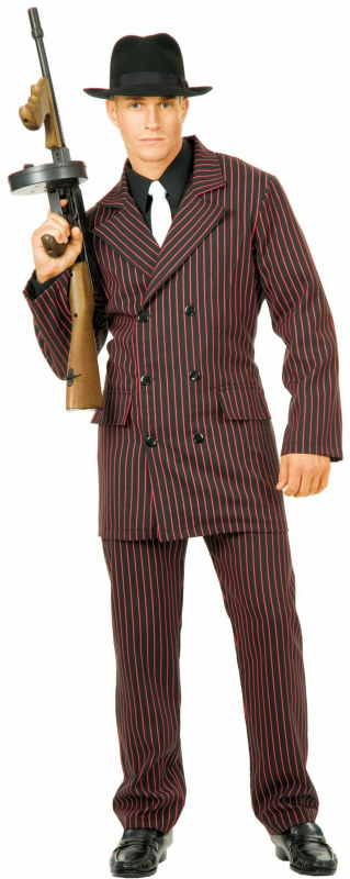 Gangster 6 Button Double Breasted Suit (Black/Red) Adult Plus Co