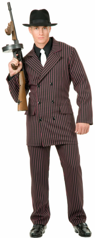 Gangster 6 Button Double Breasted Suit (Black/Pink) Adult Plus C